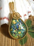 gold wire wrapped polymer clay pendant