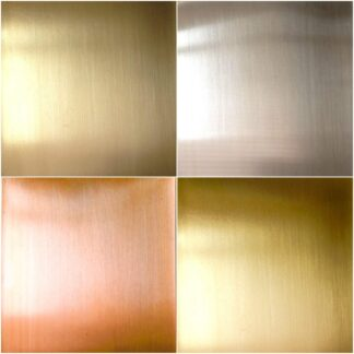 copper, brass, and silver metal sheets